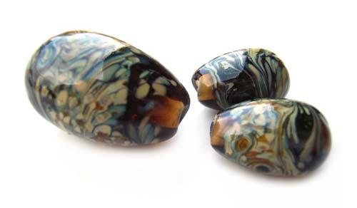 Raku on Topaz Eg Drops - Ian Williams Artisan Glass Lampwork Beads
