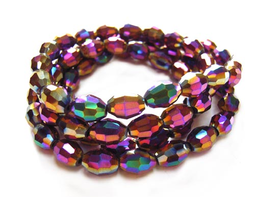 Imperial Crystal Olive Beads 8x6mm Rainbow Iris Metallic x72