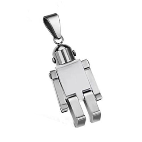 Stainless Steel Robot Mechanical Man with Chain & Bail Stamping Blank x1