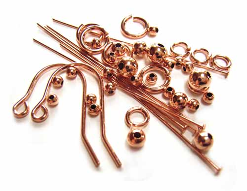 Rose Gold Filled Headpins, Beads & Findings