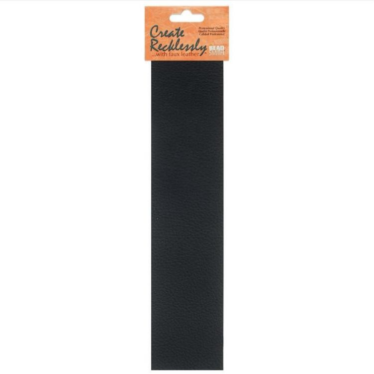 Create Recklessly, Symphony Faux Leather, 10 x 2 Inch Strip, x1pc, Black , UK Bead Shop