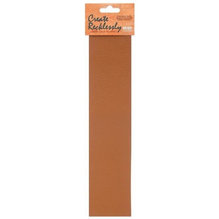 Create Recklessly, Symphony Faux Leather, 10 x 2 Inch Strip, x1pc, Saffron Tan , UK Bead Shop