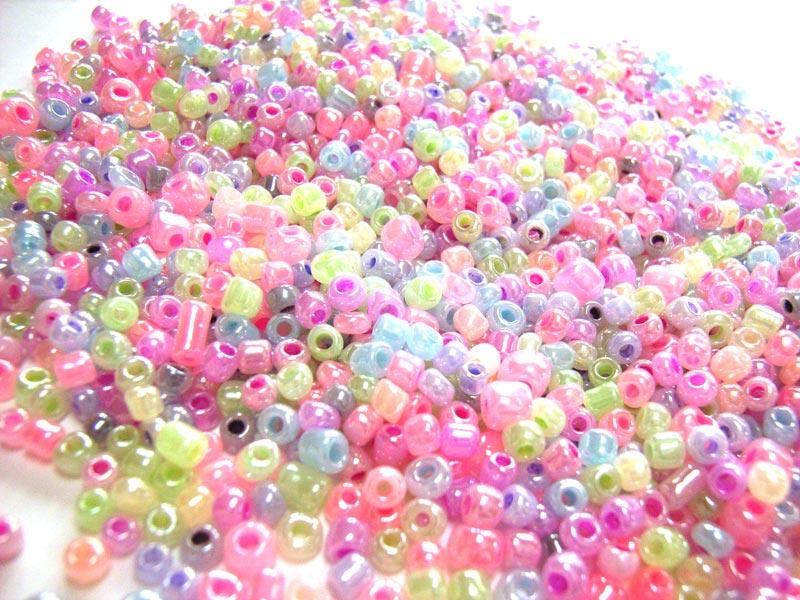 Glass Seed Beads 8/0 - 3mm Fairy Princess Mix 50g