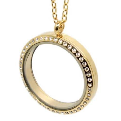 Stainless Steel 316l, Gold Floating Living Locket, w/Crystals 30mm Magnetic Pendant, (& chain)