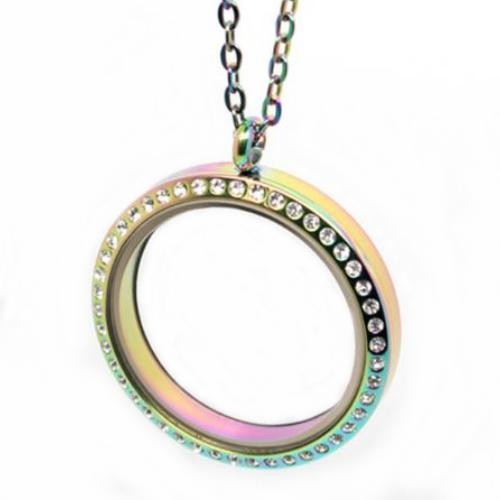 Stainless Steel 316l, Rainbow AB Floating Living Locket, w/Crystals 30mm Magnetic Pendant, (& chain)