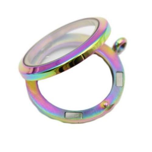 Stainless Steel 316l, Rainbow AB Floating Living Locket, w/Crystals 30mm Magnetic Pendant, (& chain) opened