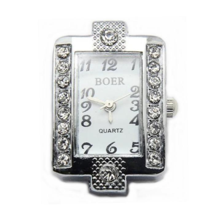 Boer Rectangle Watch Face for Beading Silver Rhinestone Crystals Clear (D01)