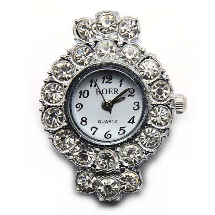 Boer Round (crowned) Watch Face for Beading Silver Rhinestone Crystals Clear (D06)