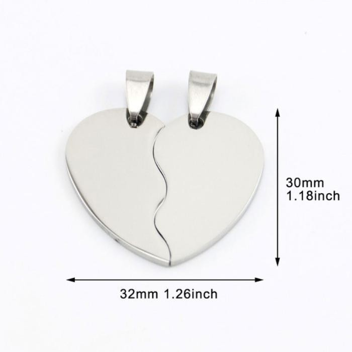 Stainless Steel Heart in Two Half Pieces 32x30mm 16ga Stamping Blank x1 Matching Pair