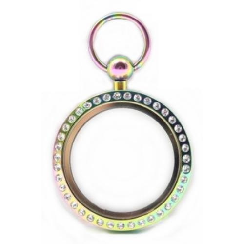 Stainless Steel 316L, Rainbow AB Floating Living Locket, w/Crystals 30mm Magnetic Fob Pendant