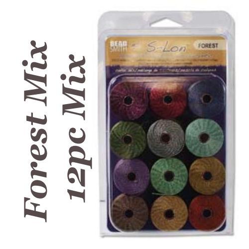 Forest S-Lon, Superlon Tex 210, 0.5mm Bead Cord Forest Mix 12 Colours