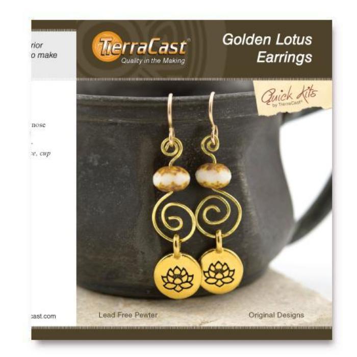 Tierracast Quick Kits - Golden Lotus Earrings - UK Retailer