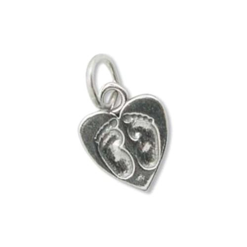Sterling Silver Charms - 11x12mm Baby Feet Heart Charm x1
