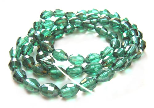 Imperial Crystal Olive Beads 8x6mm Seagreen Ab Lustre x72
