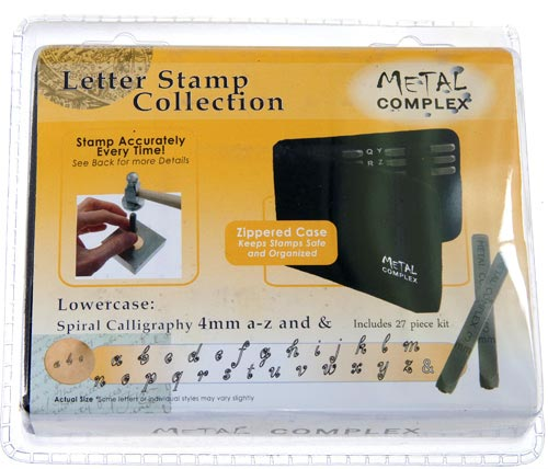 Metal Complex Stamps Spiral Calligraphy Lower Case 4mm Font Alphabet Letter Metal Stamping Punch Set in Case x1