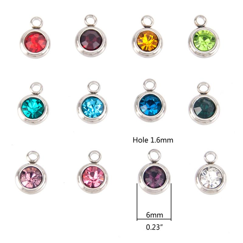 Stainless Steel Birthstone Cup Crystal Charms - 6mm, Full 12pc Set. Measure