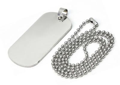 Stainless Steel Dog Tag with Chain & Bail 50.4x27.7mm 13g Stamping Blank x1