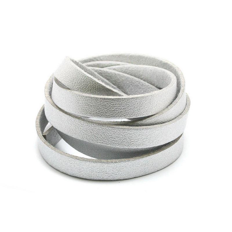 Faux PU Flat Leather Strip, for Bracelets, 8mm Wide, 1 metre x1pc, Silver