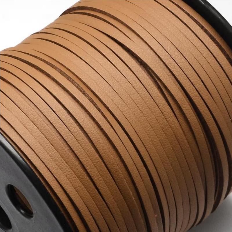 Faux Leather Leatherette Flat Cord 2.7-3mm - Tan Brown Sienna per metre UK