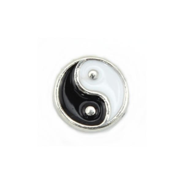 Floating Living Locket Charms, Enamel Yin Yang