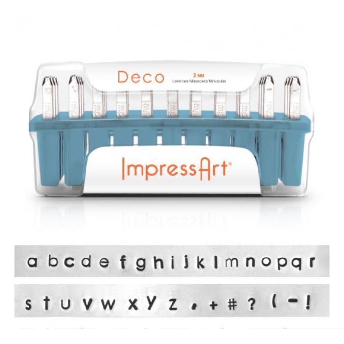 ImpressArt UK Deco Alphabet Lower Case Letter 3mm 1/8 Stamping Set