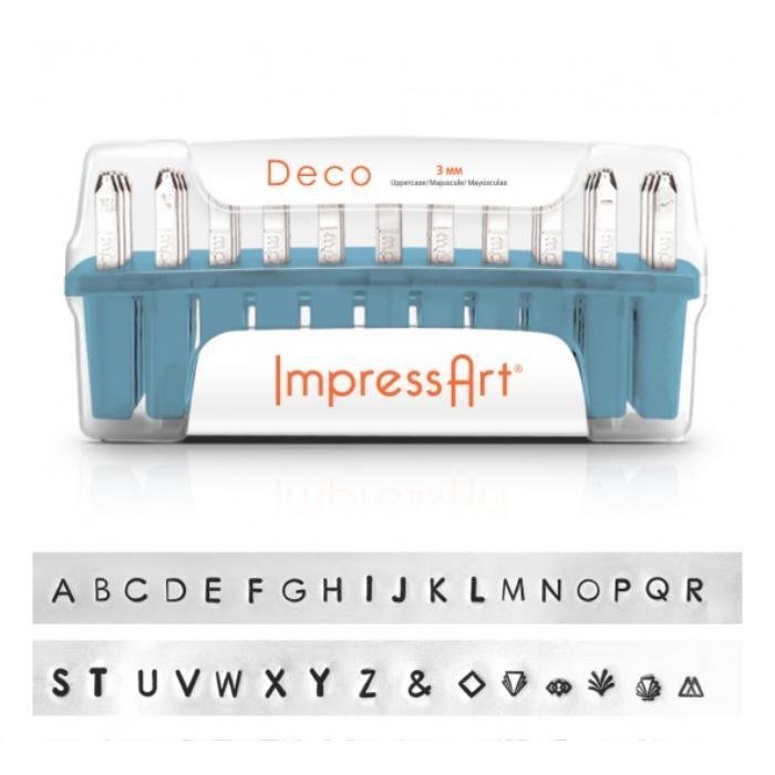 ImpressArt Deco Alphabet Upper Case Letter 3mm Stamping Set 700