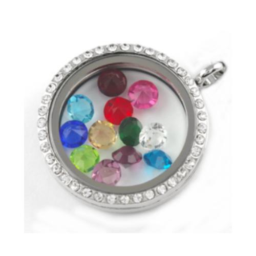 Floating Living Locket Charms, Birthstone Crystals (x12pc) Example