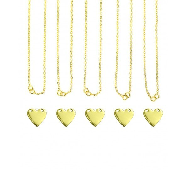 Personal Impressions, Heart, 13x14mm, Gold Plated Necklace Kit - 5pc pack