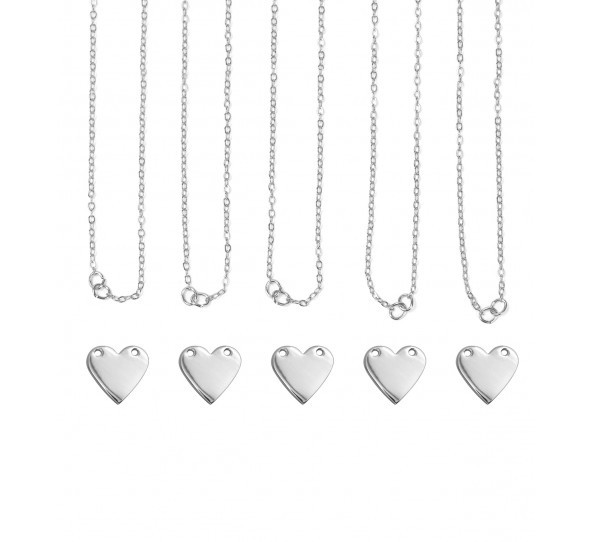 Personal Impressions, Heart, 13x14mm, Silver Plated Necklace Kit - pc pack
