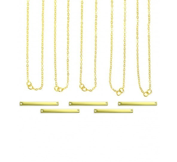 Personal Impressions, Large Rectangle, 3x38mm, Gold Plated Necklace Kit - 5 pc pack