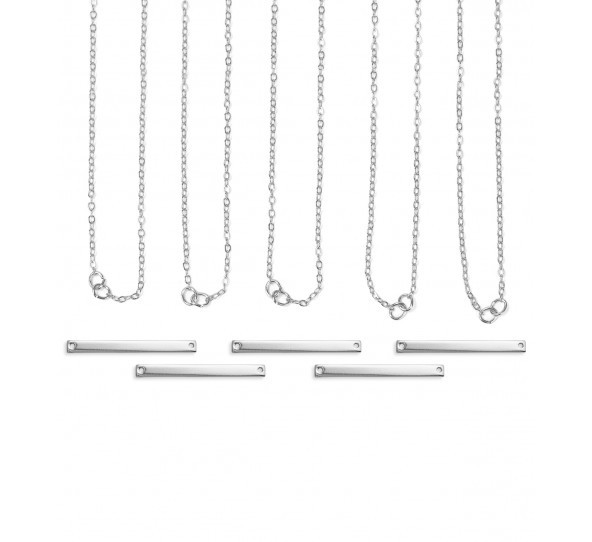 Personal Impressions, Large Rectangle, 3x38mm, Silver Plated Necklace Kit - 5 pc pack