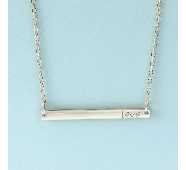 Personal Impressions, Large Rectangle, 3x38mm, Silver Plated Necklace Kit example
