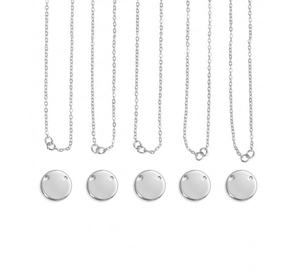Personal Impressions, Large Circle, 15mm, Silver Plated Necklace Kit - 5pc pack