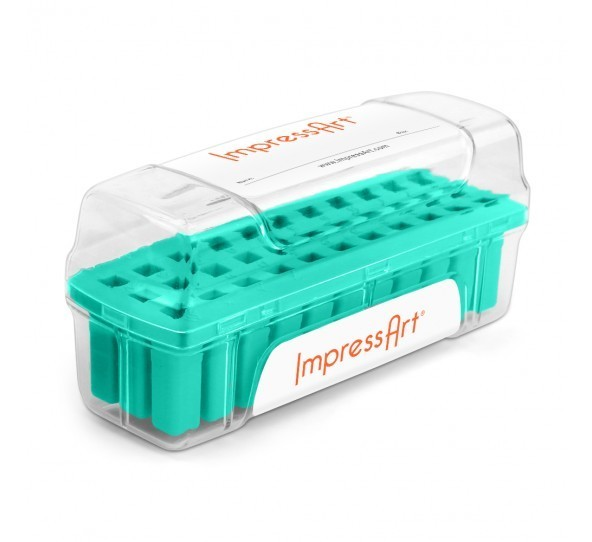 ImpressArt Storage Box Case for 4mm Alphabet Letter Sets - Teal 1