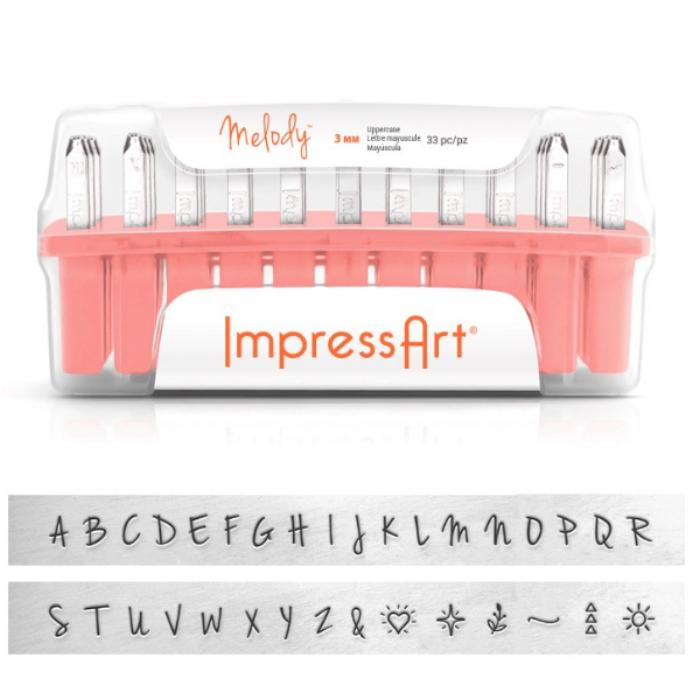 ImpressArt Melody 3mm Alphabet Upper Case Letter Metal Stamping Set