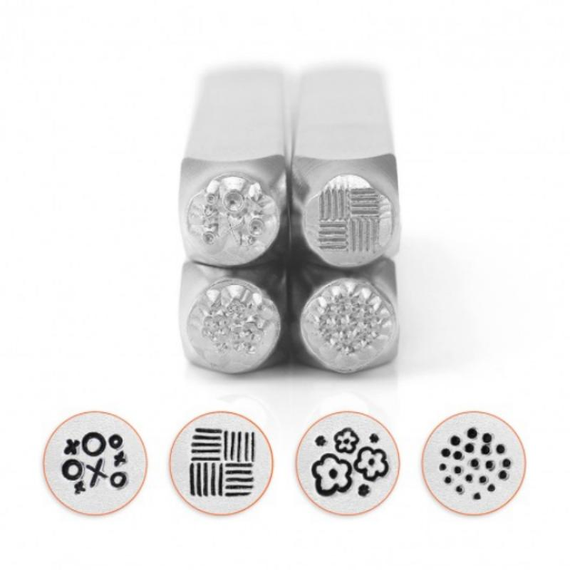 ImpressArt Texture Collection (No.1) 6mm Metal Stamping Design Punches (4pc)