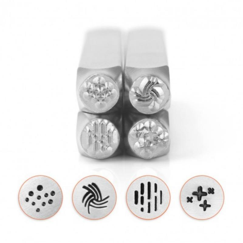 ImpressArt Texture Collection (No.3) 6mm Metal Stamping Design Punches (4pc)