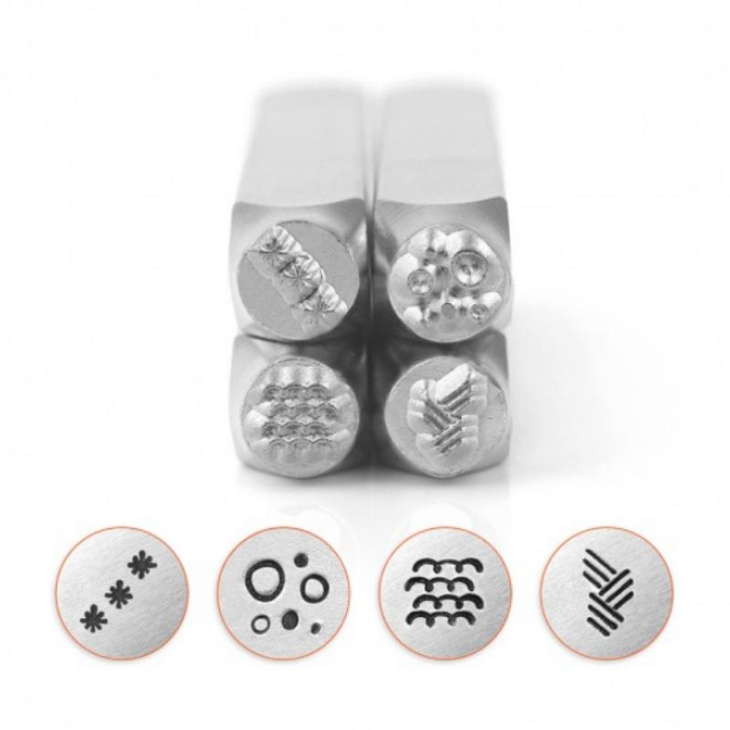 ImpressArt Texture Collection (No.5) 6mm Metal Stamping Design Punches (4pc)