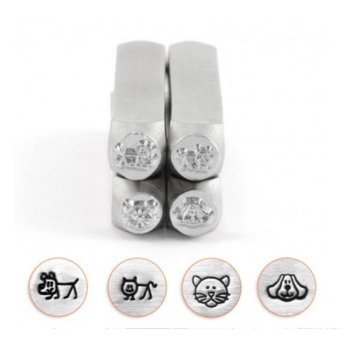 ImpressArt Cats & Dogs Collection, 6mm Metal Stamping Design Punches (4pc Cat Face, Dog Face, Stick Cat, Stick Dog)