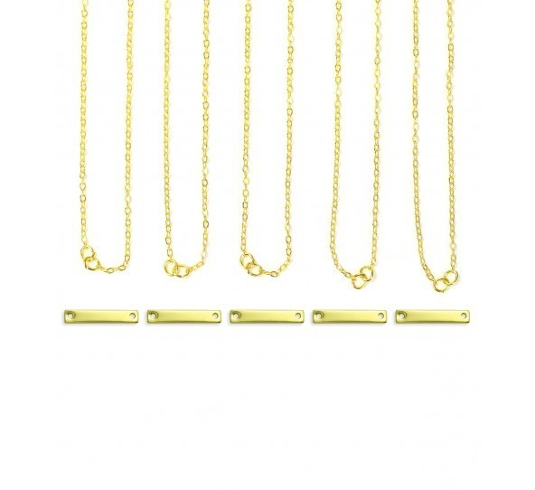 Personal Impressions, Small Rectangle, 3x20mm, Gold Plated Necklace Kit - 5 pc pack