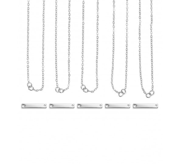 Personal Impressions, Small Rectangle, 3x20mm, Silver Plated Necklace Kit - 5 pc pack