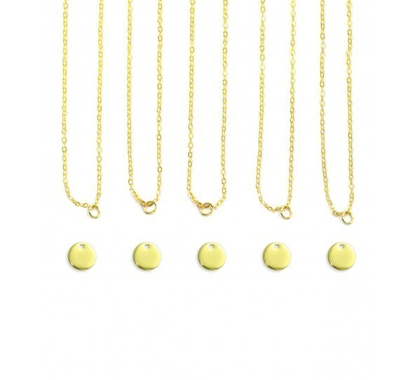 Personal Impressions, Small Circle, 10mm, Gold Plated Necklace Kit - 5pc pack