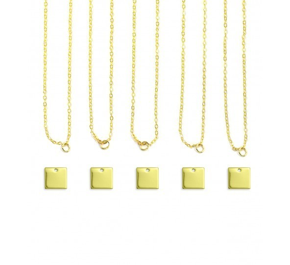 Personal Impressions, Square, 11mm, Gold Plated Necklace Kit - 5pc pack