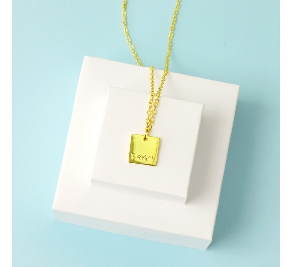 Personal Impressions, Square, 11mm, Gold Plated Necklace Kit example