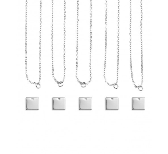 Personal Impressions, Square, 11mm, Silver Plated Necklace Kit - 5 pc pack
