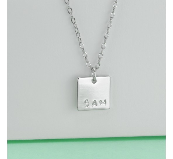 Personal Impressions, Square, 11mm, Silver Plated Necklace Kit example