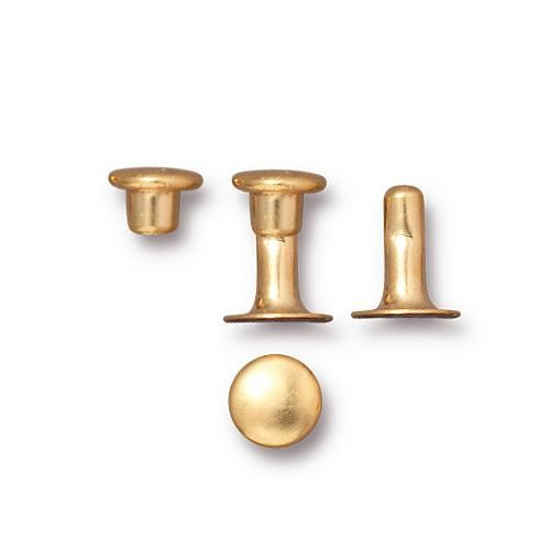 Tierracast 6mm Compression Rivet Gold Plated x10 pairs