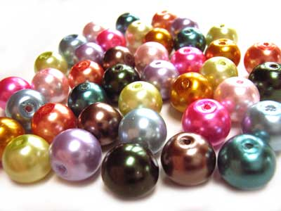 Faux Pearls 10mm Glass Beads x40 Soup Mix B
