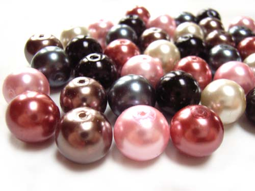 Faux Pearls 12mm Glass Beads x40 Soup Mix