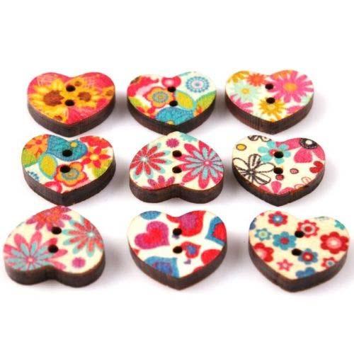 Wooden Heart Buttons 18x16x3.7mm Assorted x1